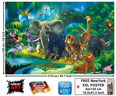 Mural Jungle Animals Wallpaper Safari Mural Children Room Poster Wild Animal Adventure Art Colourful Kids Design Wilderness Decor Wallpaper 82 7