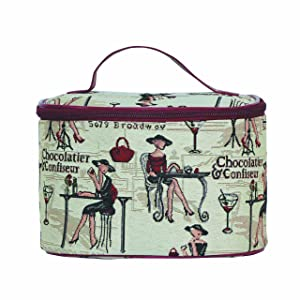 Signare Tapestry Round Large Cosmetic Bag Travel Makeup Organiser Case with Handle Holder Fashion Lady Design (TOIL-RDV)