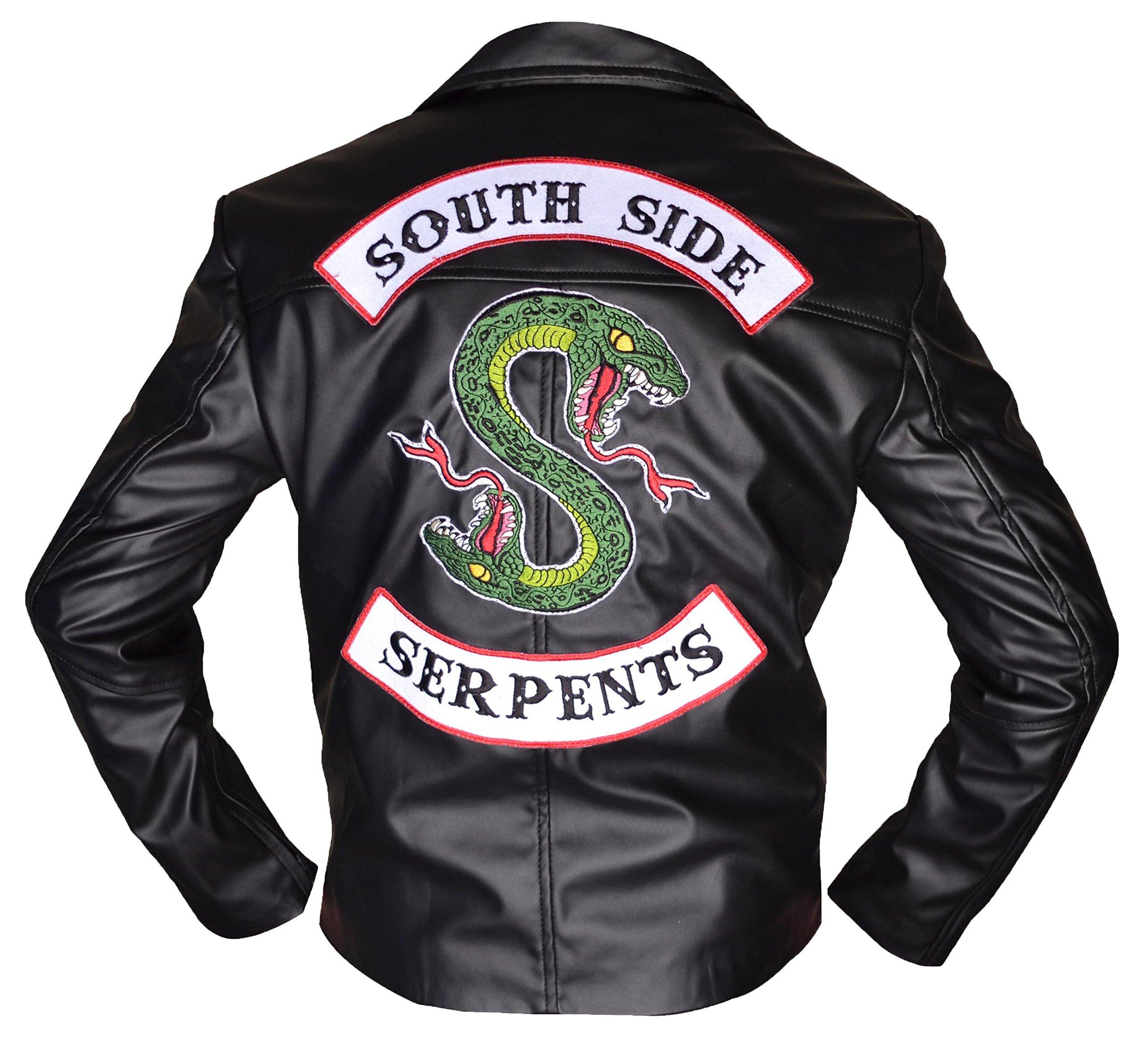 Jughead Riverdale Southside Serpents Men Women Biker Leather Jacket (M) Black