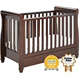 Babymore Eva Sleigh Cot Bed Dropside with Drawer (Dark Brown)