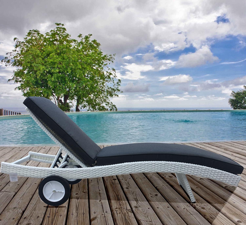 Luxurygarden Lettino Prendisole da Giardino Esterno E Piscina in Rattan Sintetico Marrone Bora Bora