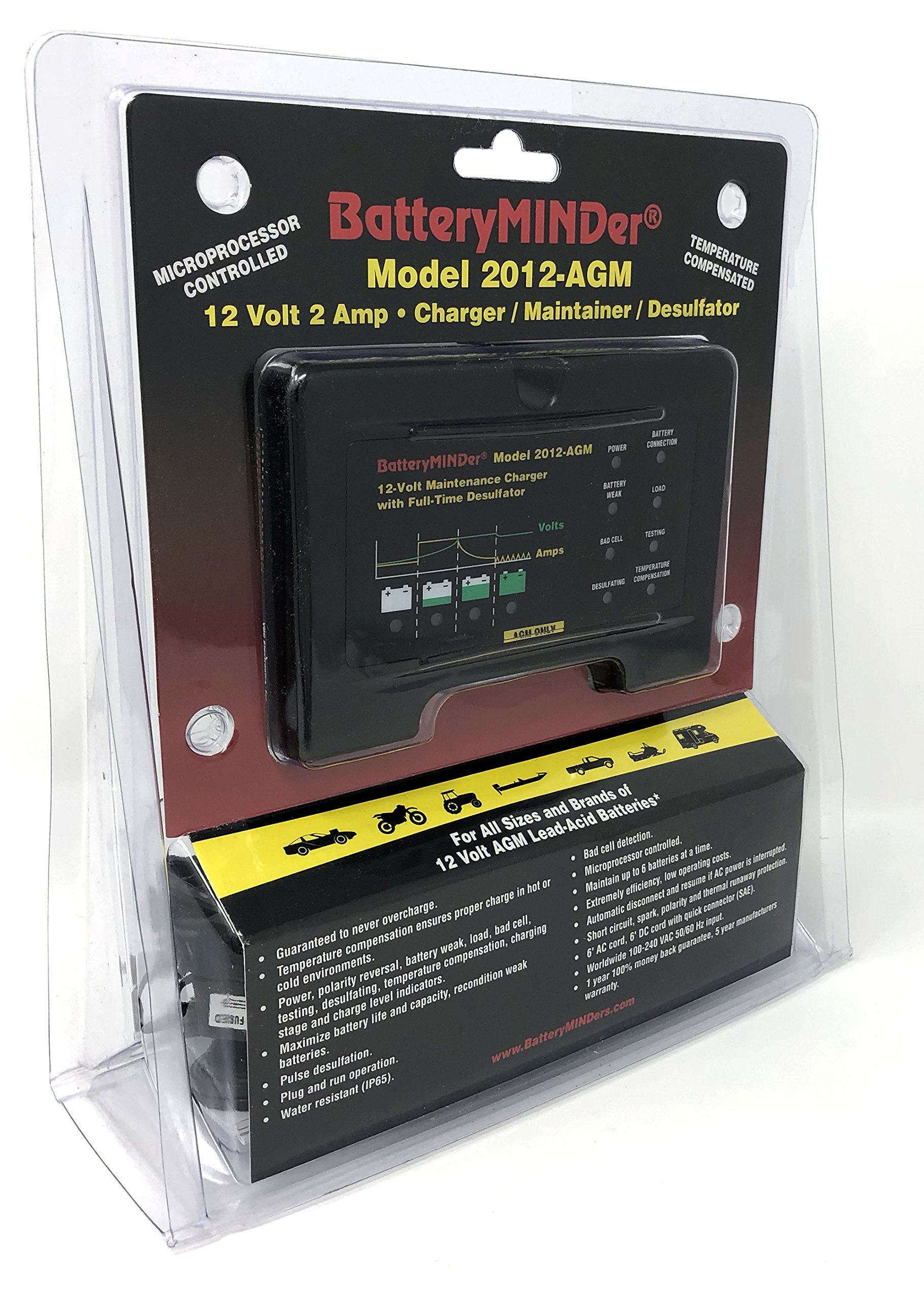 BatteryMINDer Model 2012-AGM: 12Volt-2 Amp Battery Charger Maintainer/Desulfator for Odyssey, Optima and AGM Lead-Acid Batteries - Designed for Cars, Trucks, Motorcycles, ATV, Boat, RV, etc. by BatteryMINDer (Image #2)