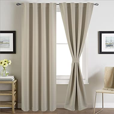 BHU Blackout Room Darkening and Thermal Insulating Window Curtains / Panels / Drapes - 2 Panels Set - 5 Back Loops per Panel - 2 Tie Back Included (Ivory, 38x96)