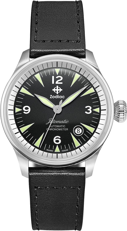 Zodiac Men's Jet-O-Matic Stainless Steel Swiss-Automatic Watch with Leather Calfskin Strap, Black, 20 (Model: ZO9150)