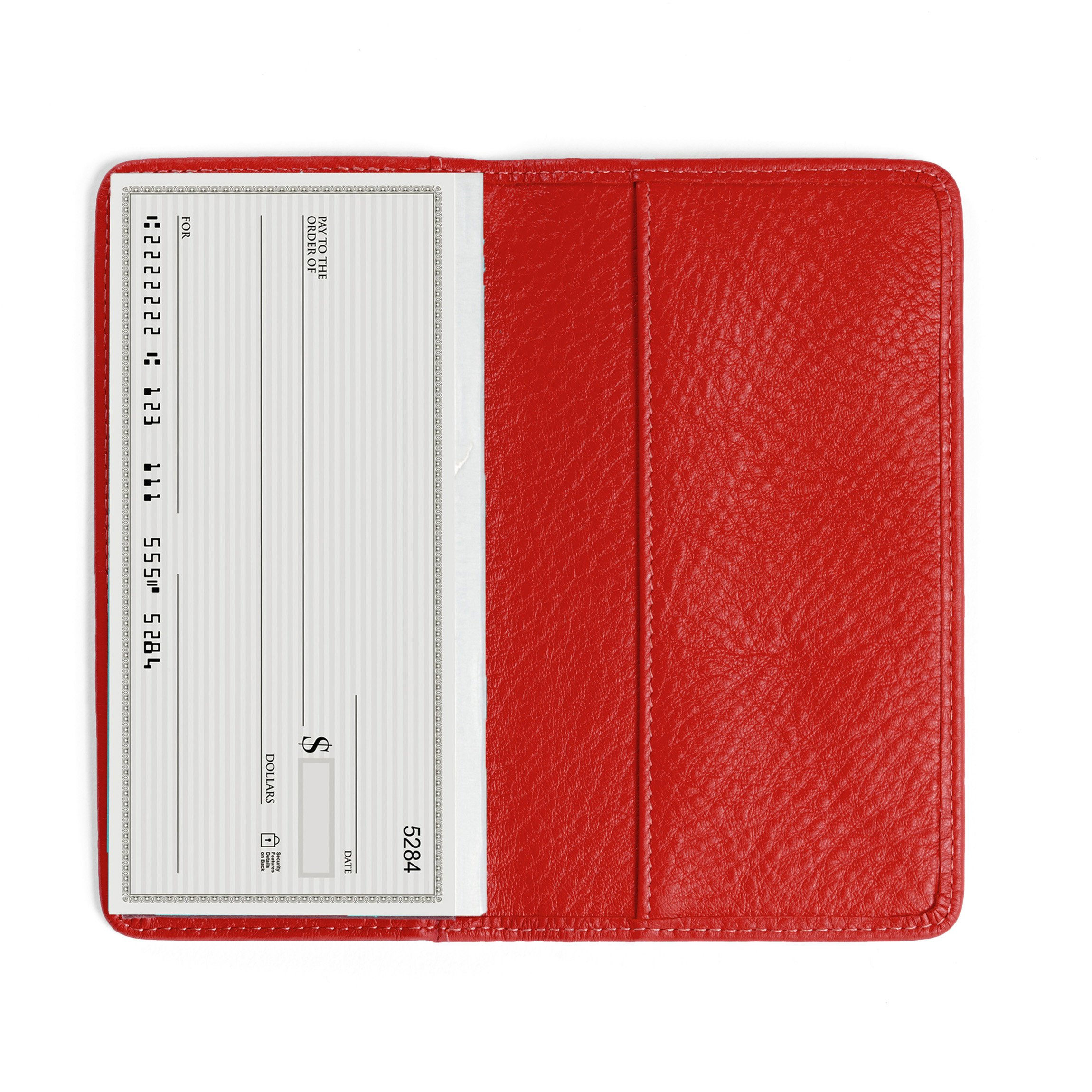 Leatherology Standard Checkbook Cover - Full Grain Leather Leather - Scarlet (red)