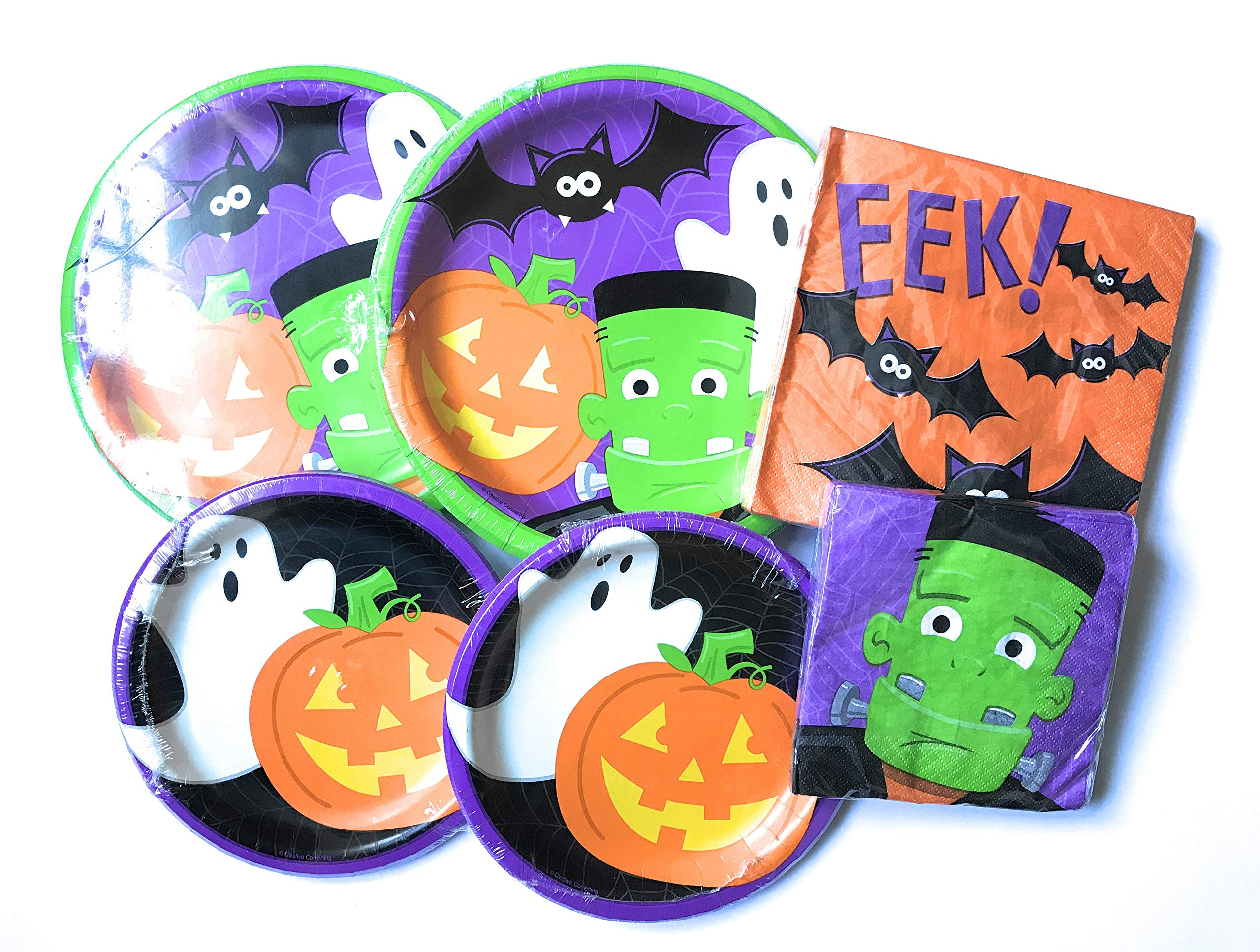 Halloween Paper Plates and Napkins - Friendly Monsters Halloween Plates and Napkins - 64 Total Pieces - Cute, Durable and Great Value! by RLP Marketing LLC