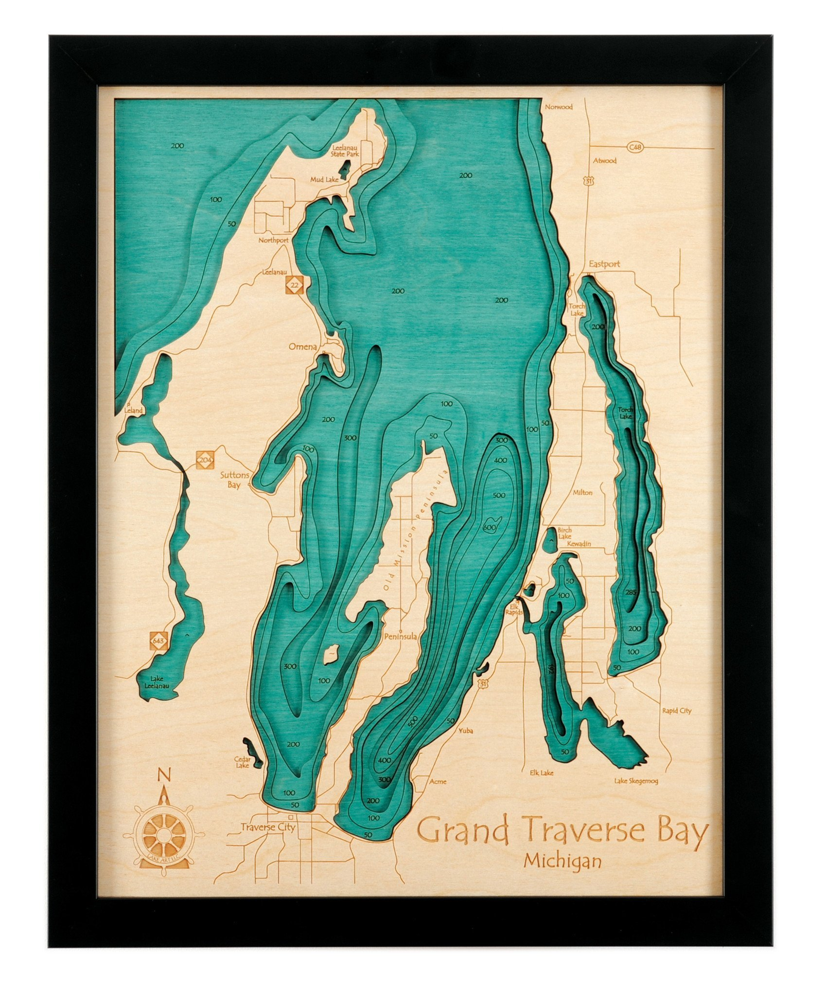 Fulton Chain of Lakes (First, Second, Third and Fourth Lakes) in Herkimer Hamilton, NY - 3D Map (Black Frame/No Glass Front) 14 x 18 IN - Laser carved wood nautical chart and topographic depth map. by Long Lake Lifestyle