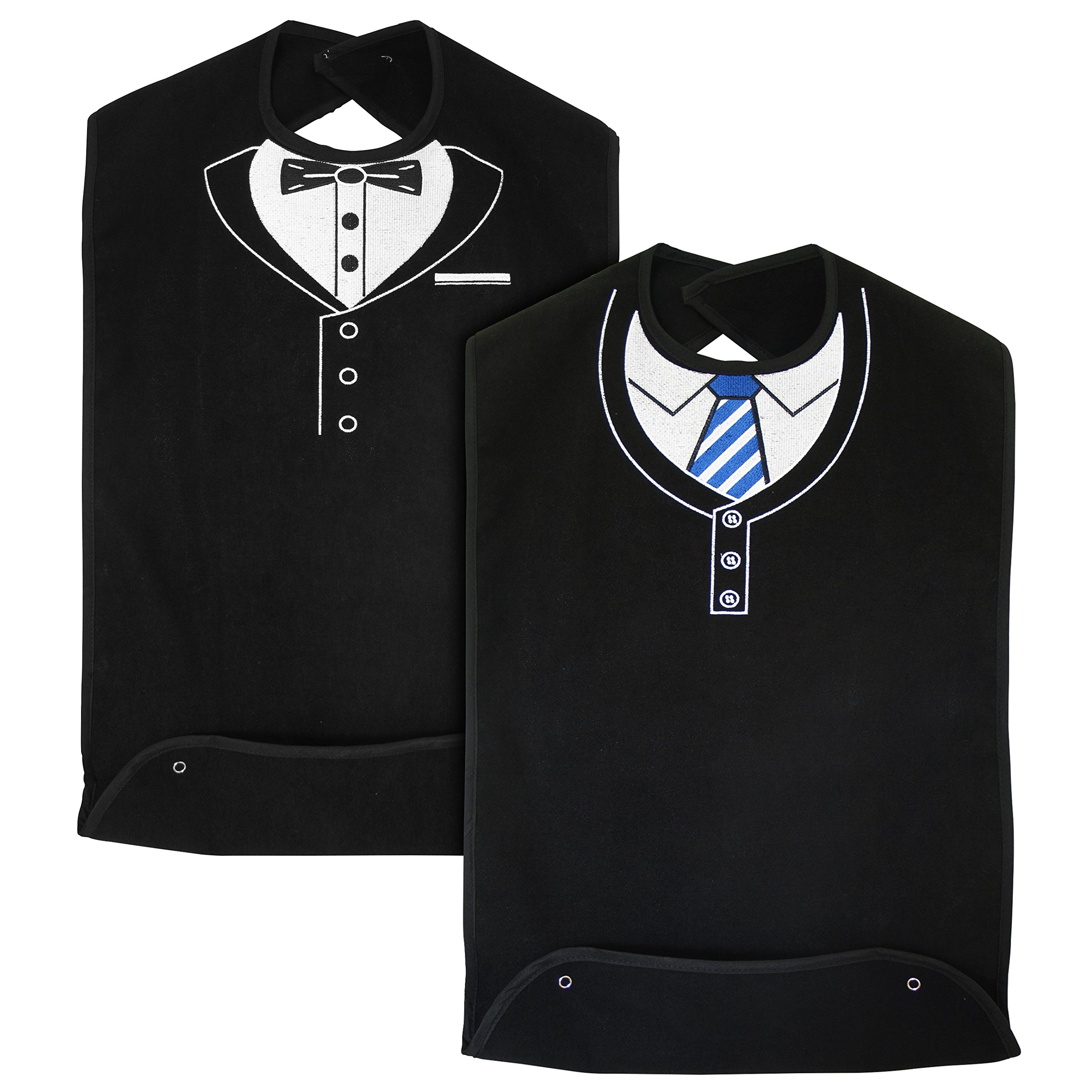 Classy Pal | Adult Bib for Men with Embroidered Design. Waterproof, Reusable & Washable | 2 Pack (Blue Tie + Tuxedo)