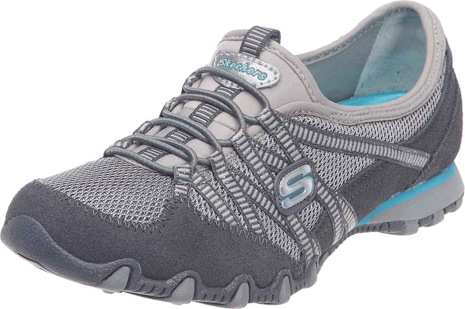 Skechers Womens Ladies Bikers Hot Ticket Breathable Leather Trainer Grey LeatherMesh