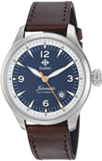 Zodiac Mens Jetomatic Swiss Automatic Stainless Steel and Leather Casual Watch, Color: