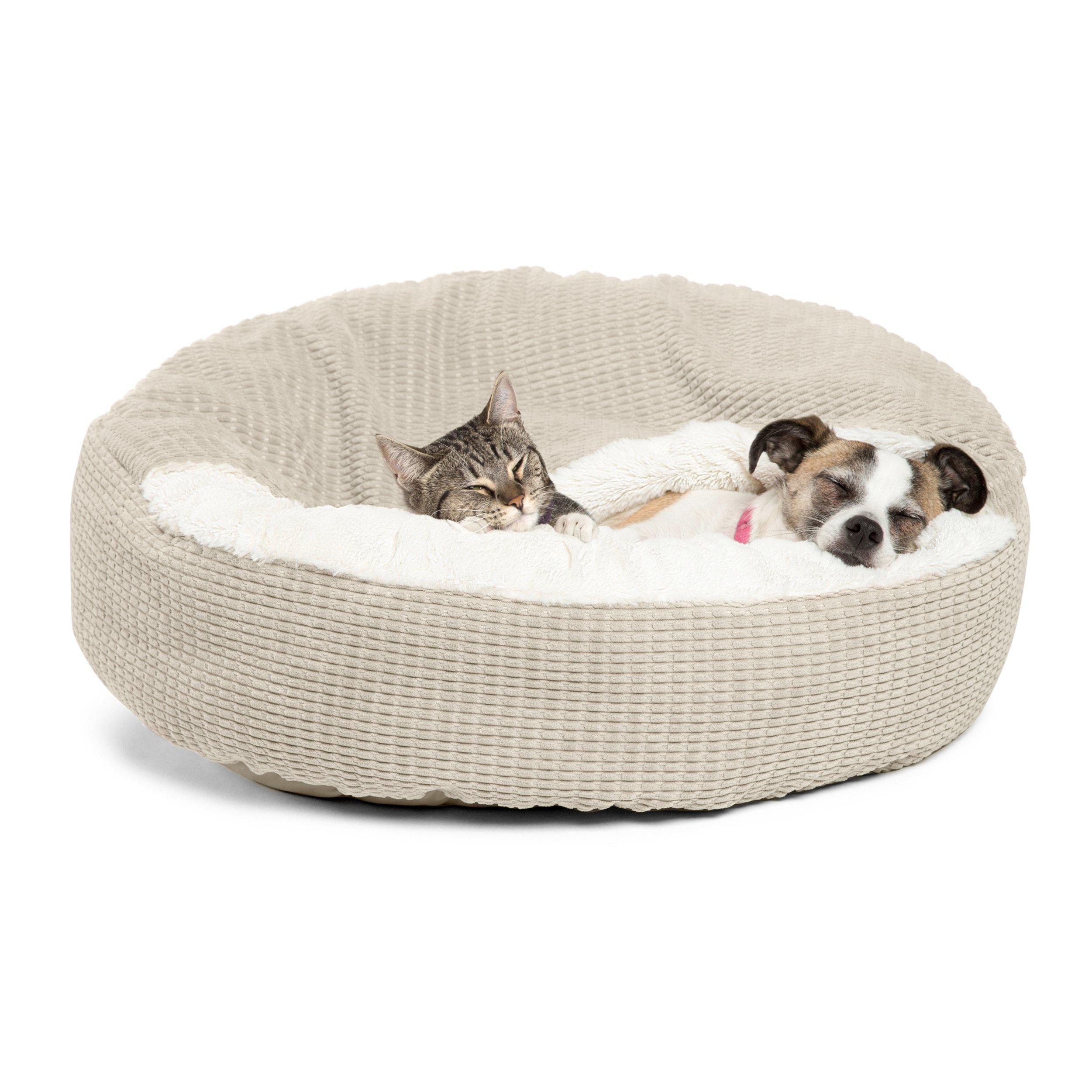 Best Friends by Sheri Cozy Cuddler in Mason Dog/Cat Bed, 26'' x 26'', Oyster