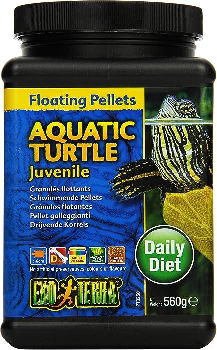Exo Terra Juvenile Aquatic Turtle Food, Floating Pellets for Reptiles, 19.7 Oz., PT3250