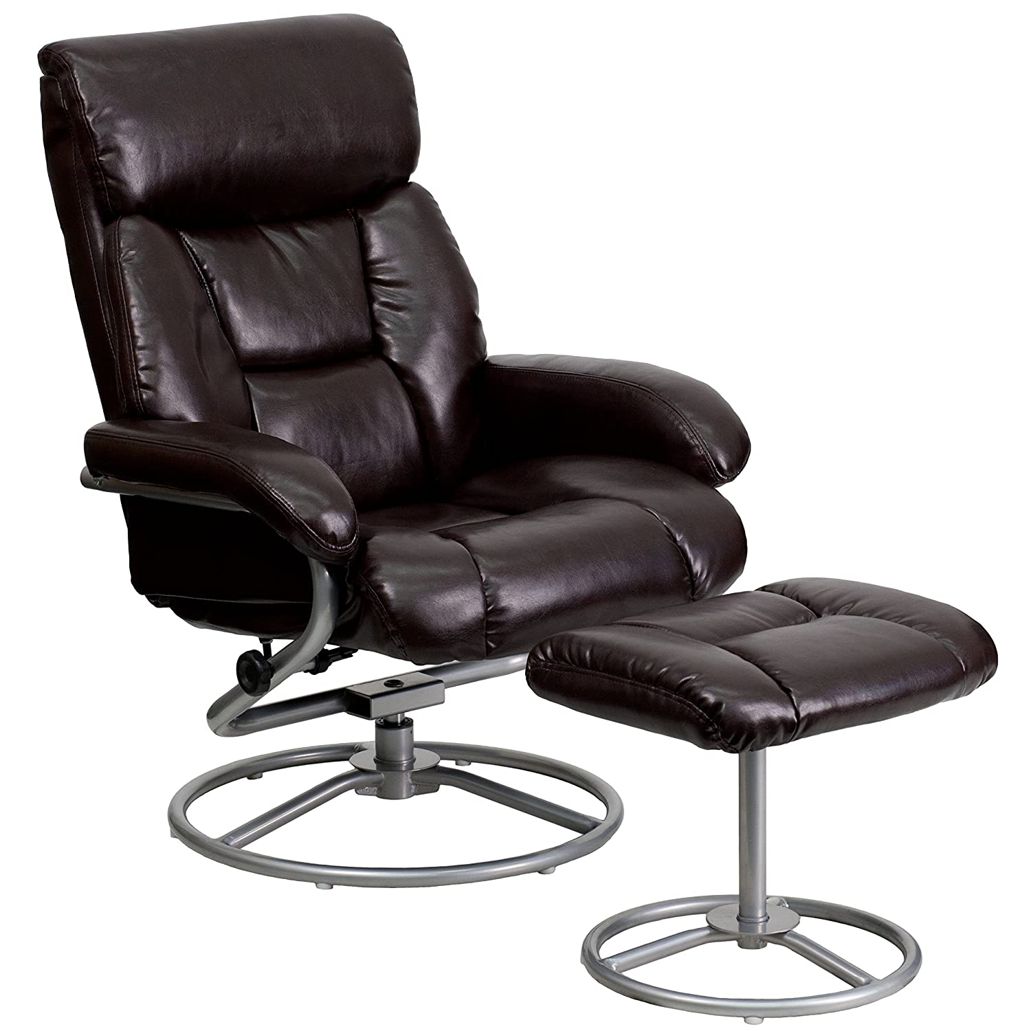 Flash Furniture Contemporary Brown Leather Recliner and Ottoman with Metal Base BT-70230-BRN-CIR-GG