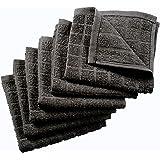 Nirisha Cotton Terry Dish Cloth - 6 Pack - Grey - 12 x 12 Inches - 400 GSM - 100% Ringspun 2 Ply Cotton - Box Weave - Soft &