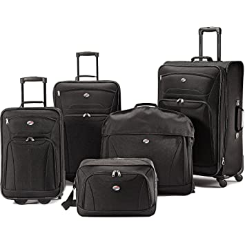 Amazon.com: American Tourister 5-Piece Luggage Set, Black. Travel ...