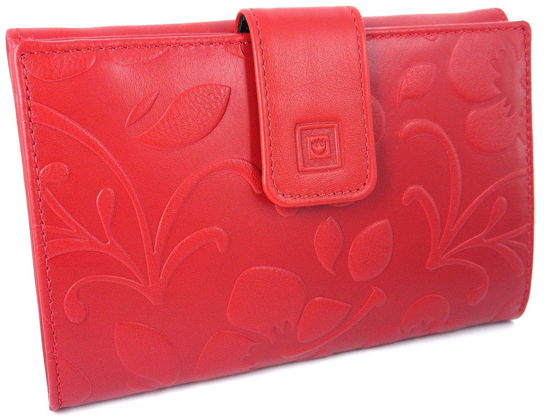 Hecho en España. Cartera de mujer elaborada artesanalmente con piel de alta calidad. Diseño floral con relieve. (Rojo): Amazon.es: Equipaje