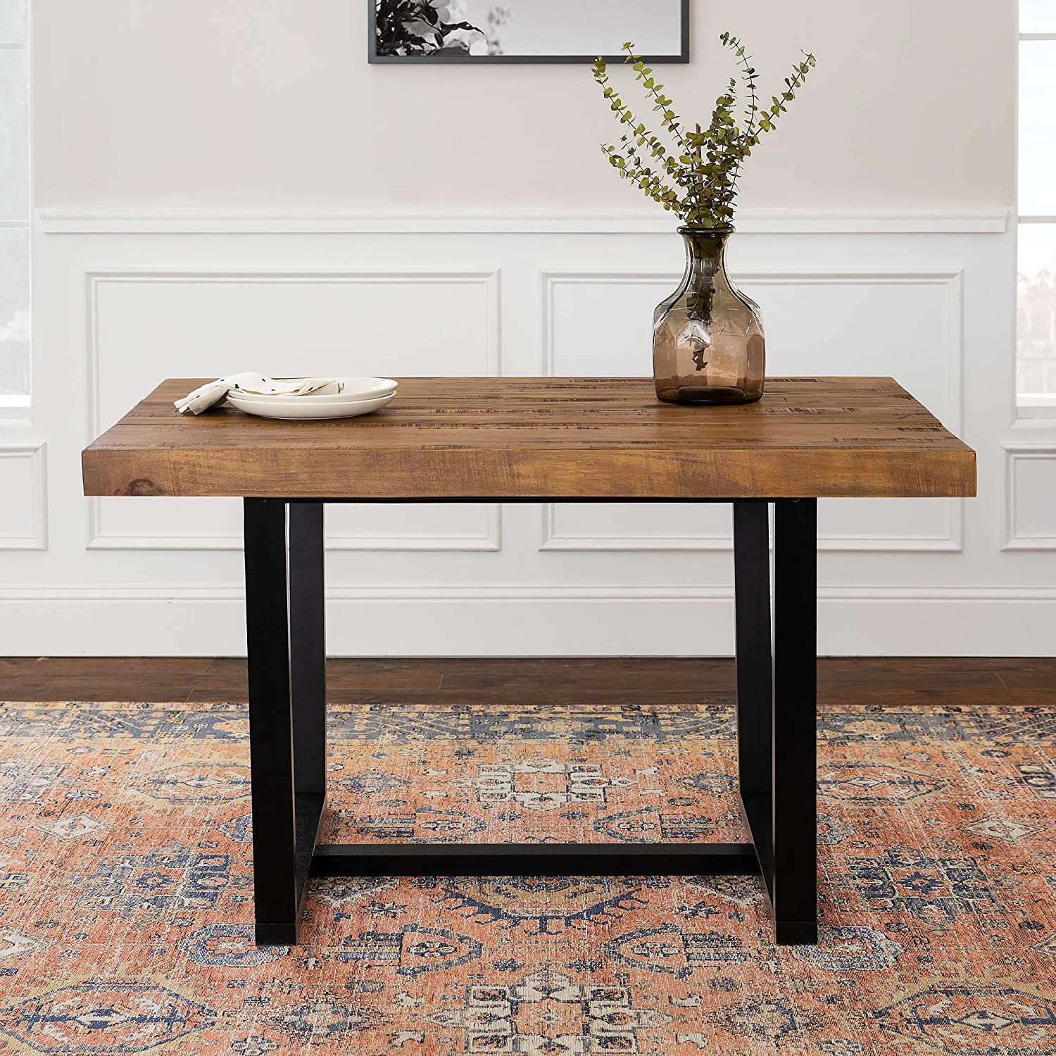 Amazon Com Walker Edison Furniture 6 Person Modern Farmhouse Distressed Wood Rectangle Kitchen Dining Table 52 Inch Brown Reclaimed Barnwood Table Chair Sets