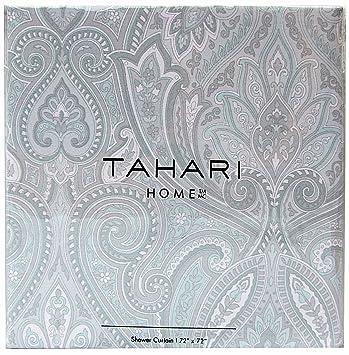 Amazon.com: Tahari Home Fabric Shower Curtain Roseman Paisley ...