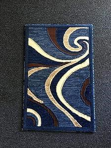 Modern Door Mat Area Rug Blue Swirl Americana Design 144 (2 Feet X 3 Feet)