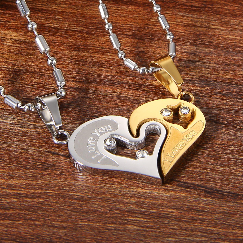 ciondolo a forma di cuore I Love You strass puzzle corrispondenza collana coppia Natale regalo di San Valentino con 50/cm/& 55/cm catena Cupimatch 2-pieces unisex in acciaio INOX
