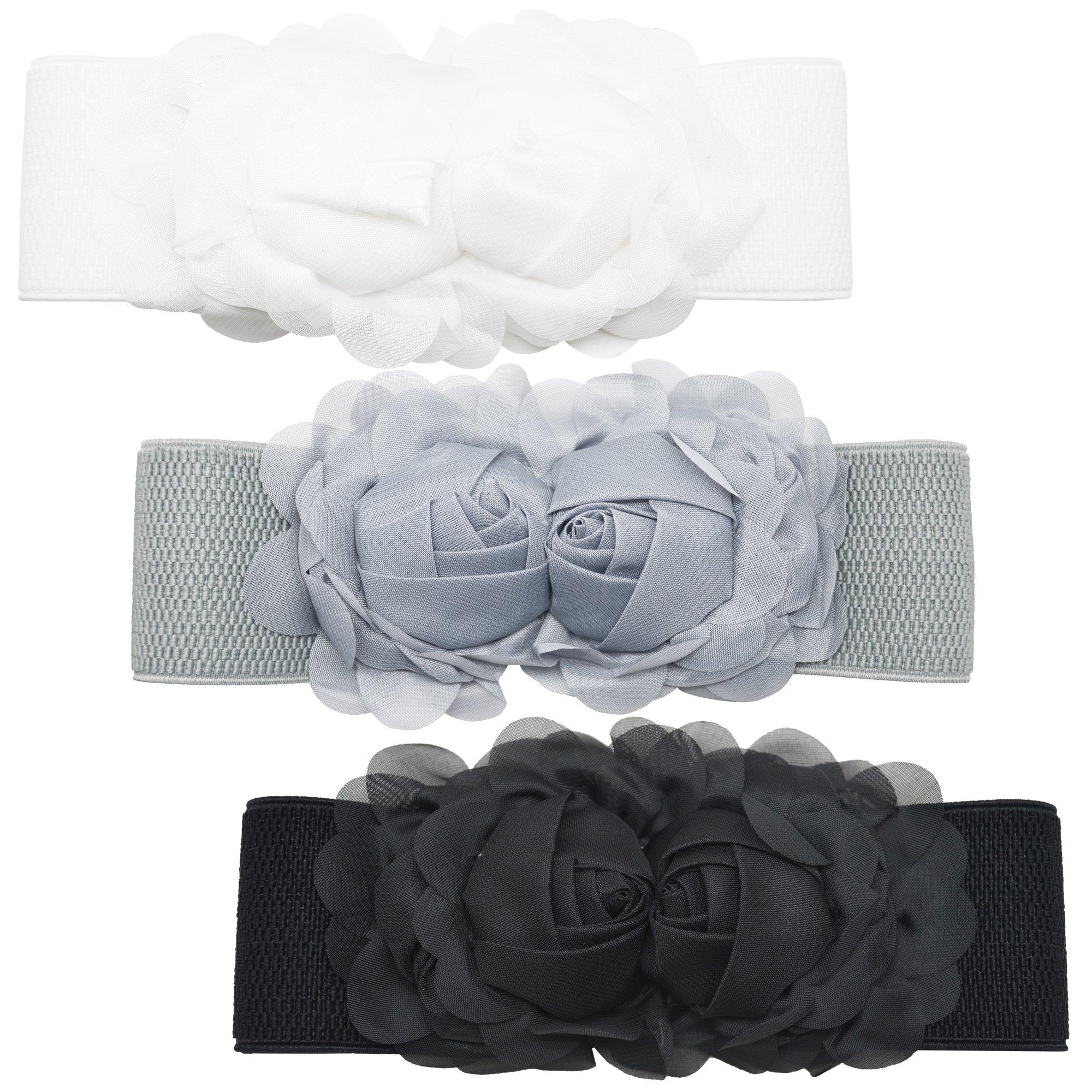 Meta-U Women Flower Elastic Wide Waist Belt (black&grey&white rose)
