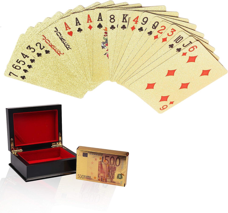 Cartas de Póker - Cartas de Poker de Plástico Naipes de Lámina con Caja para magia, juego de cartas