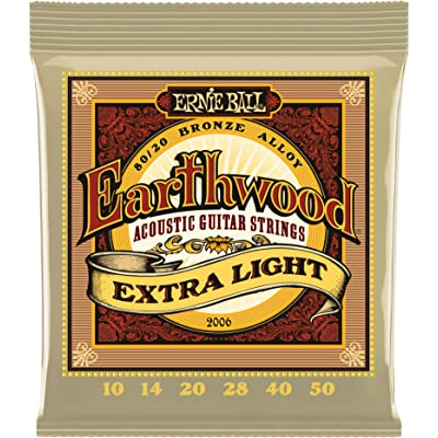Ernie Ball Earthwood Extra Light Cuerdas de guitarra acústica de bronce 80/20-10-50 Gauge