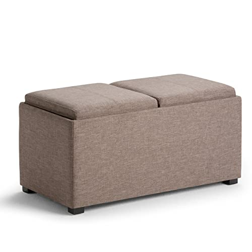 Simpli Home AY-F-15B-BRL Avalon 35 inch Wide Contemporary Rectangle 5 Pc Storage Ottoman in Fawn Brown Linen Look Fabric
