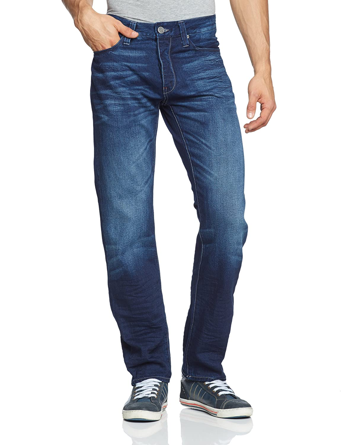 Mavi Herren Straight Leg Jeans Pierre; dark used white edge denim