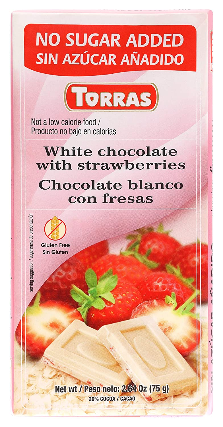 Amazon.com : Torras Sugar Free and Gluten Free White Chocolate Bar - Strawberries (4 Pack) : Grocery & Gourmet Food