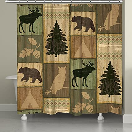 Laural Home GOC74SC Gone Camping Shower Curtain Beige Green