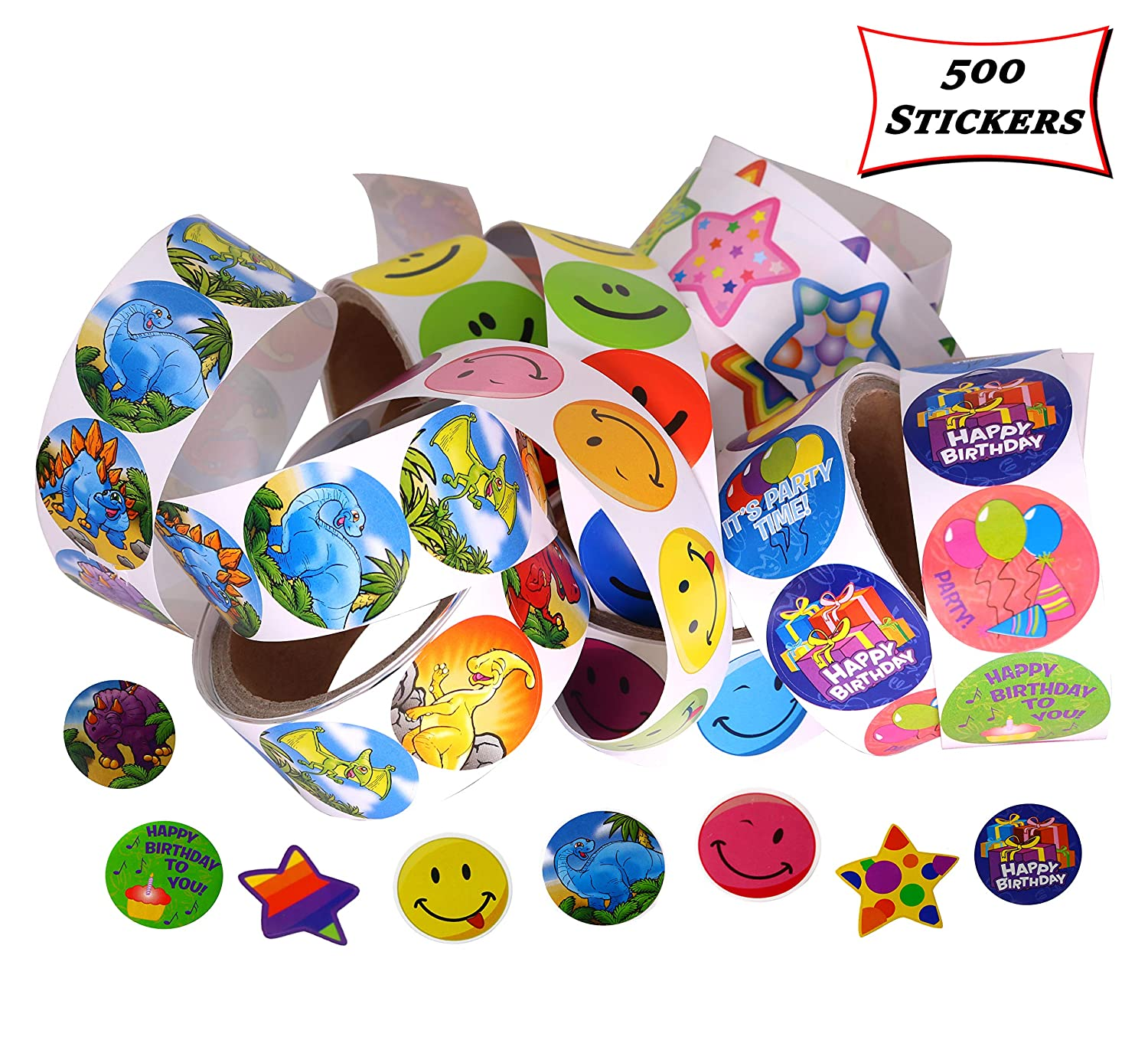 5 Rolls of 100 Stickers A Total of 500 Stickers Per Order Smart Novelty Sticker Roll Assortment for Kids Prizes