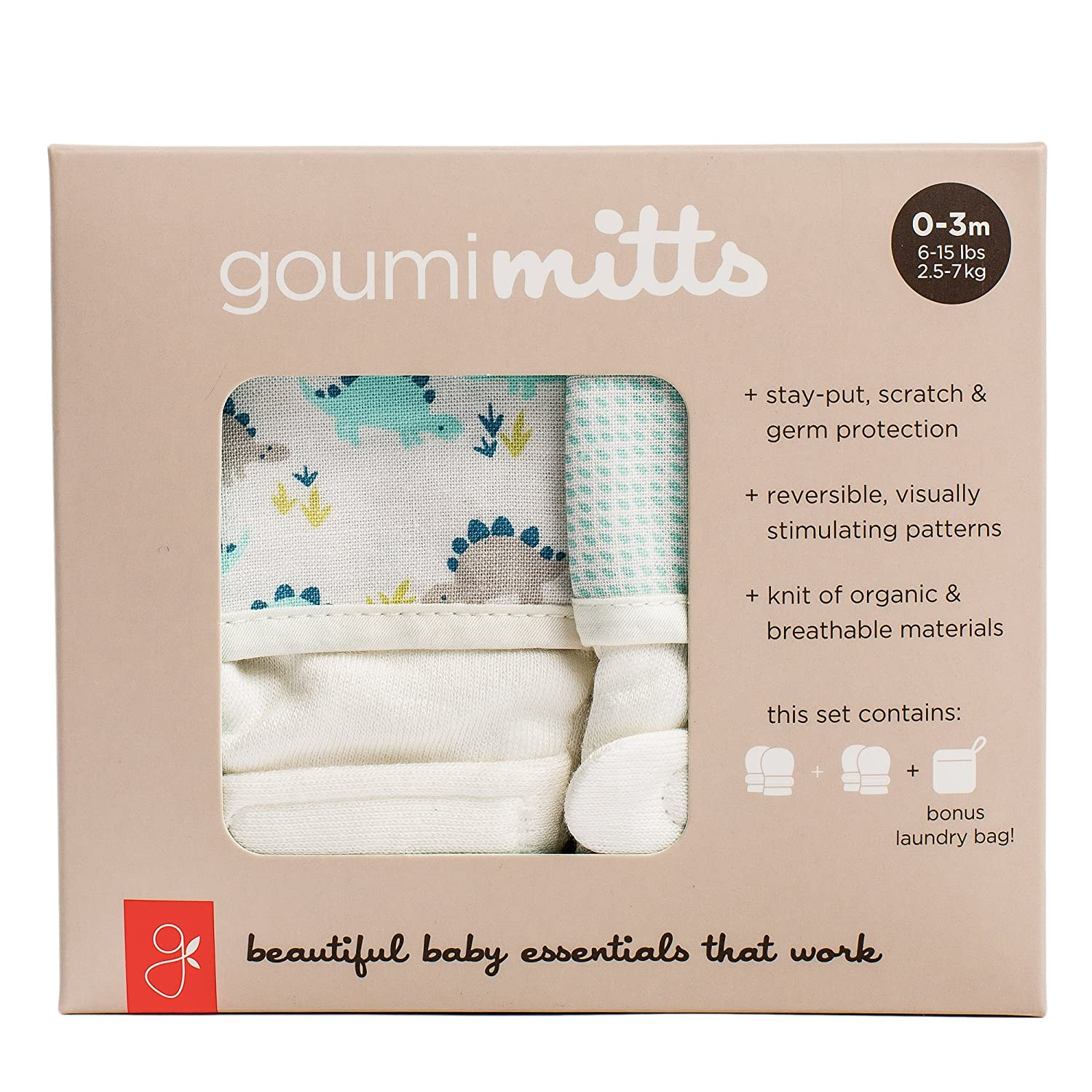 goumimitts Soft Stay On Scratch Mittens -Stop Scratches and Germs, 2 Pack (0-3 Months, Dino - Drops/Aqua) Goumikids