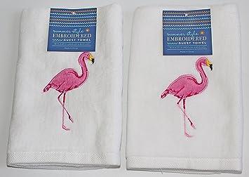 Verano Estilo 100% algodón blanco bordado Guest toalla de mano, 16 x 25 pulgadas