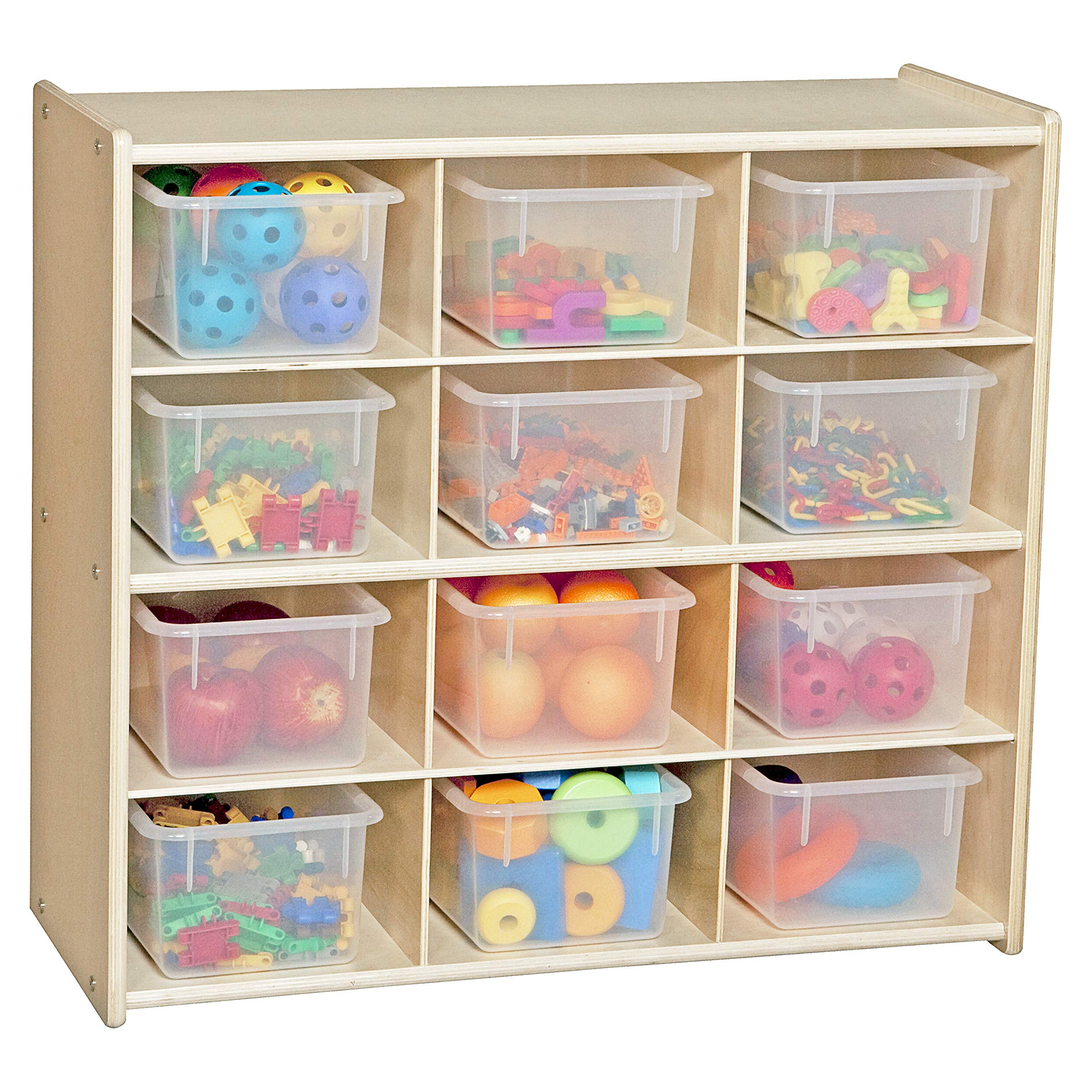 Contender 12 Cubby Storage Unit with Translucent Tubs