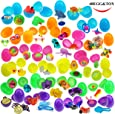 48 Toy Filled Bright Colorful Easter Eggs, 2.5 Inches, Include 24 kinds of Popular Toys