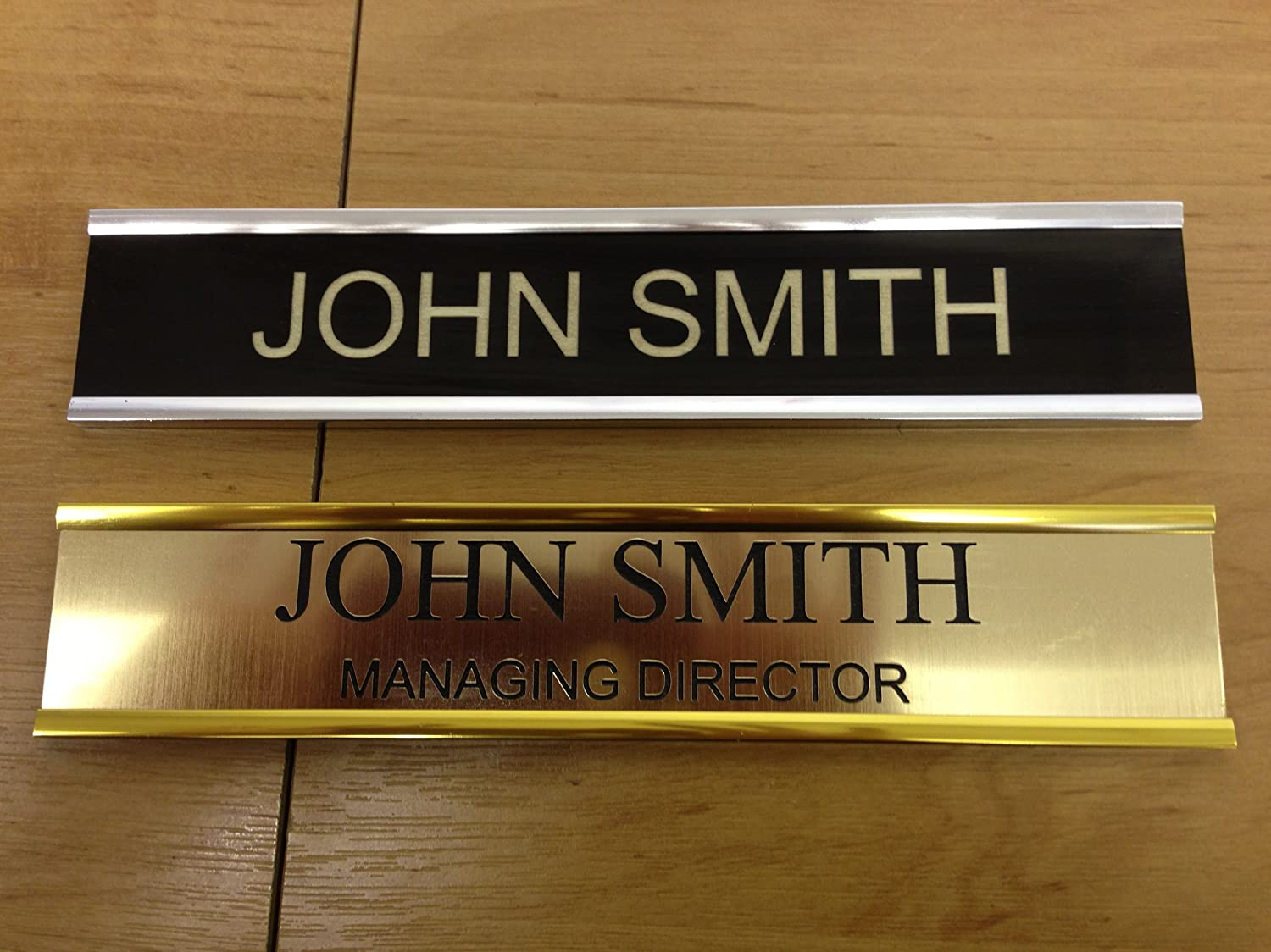 DOOR PERSONALISED NAME PLATE HOLDERS SILVER EFFECT METAL WITH ENGRAVED LAMINATE INSERT OFFICE FACTORY BUSINESS (BLACK 203 x 37mm 8 x 1 1/2 ) Amazon.co.uk ... & DOOR PERSONALISED NAME PLATE HOLDERS SILVER EFFECT METAL WITH ... pezcame.com
