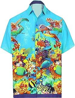 22a59a4e LA LEELA Smooth Likre Button Down Casual Hawaiian Beachwear Mens Camp Shirt  Blue