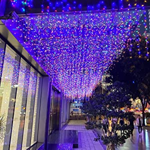 LED Icicle String Lights, GYDING Christmas Icicle Lights 13Ft 96 LEDs Window Curtain Starry Fairy Lights Plug in 8 Modes for Wedding Party Bedroom Garden Patio Outdoor Indoor (Multicolor, 4)