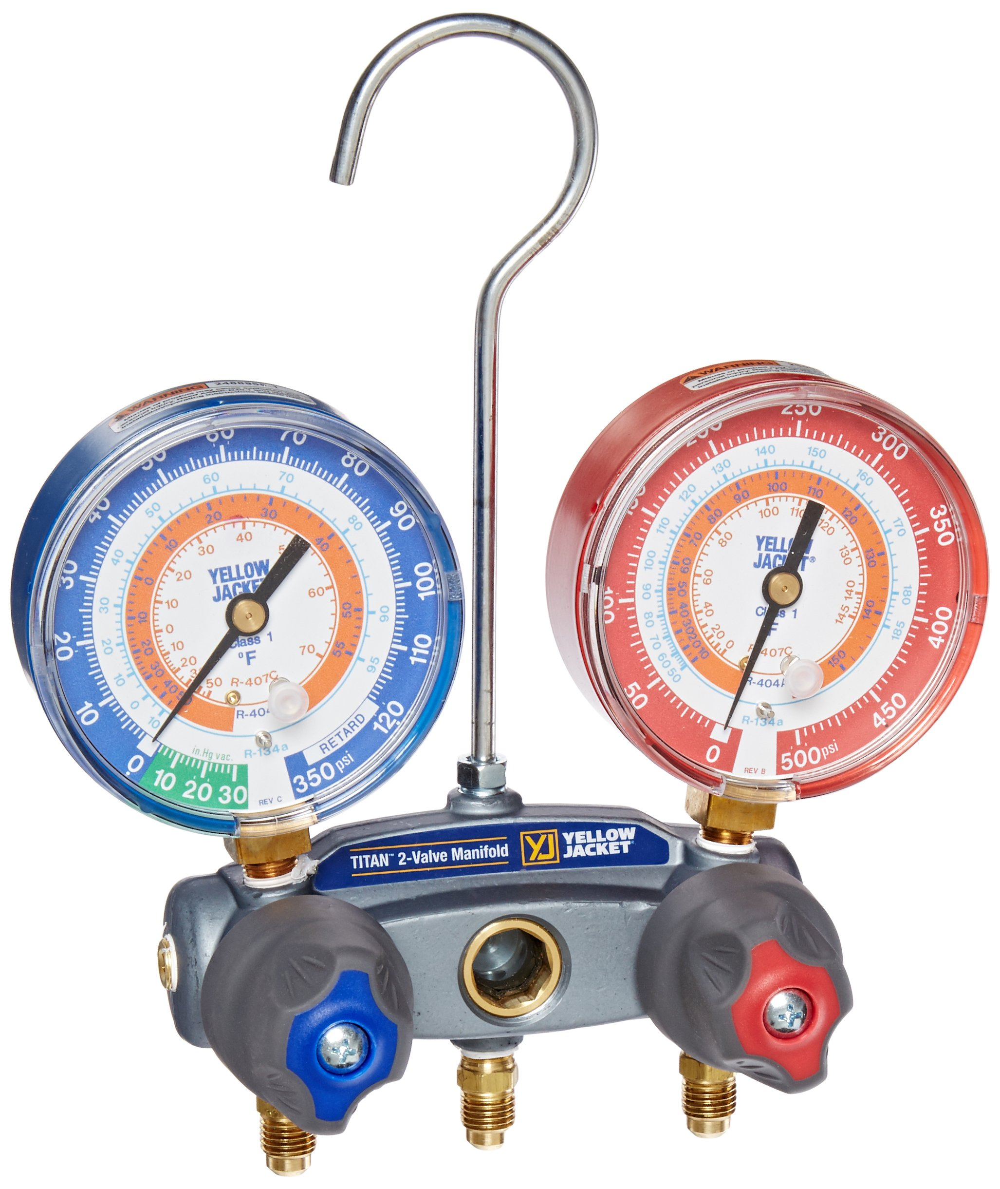 Yellow Jacket 49832 Titan 2-V Charging Manifold Gauges R-134a/404A/407C by Yellow Jacket (Image #1)