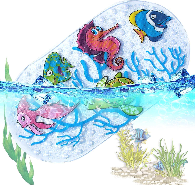 Anti Rutsch Pads Badewanne Dusche Kinder Badewannenmatte Naturgummi Kann Waschbar Badematte 39X69Cm Ocean World