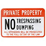 "SmartSign 3M Diamond Grade Reflective Aluminum Sign, Legend ""Private Property No Trespassing No Dumping"", 12"" high x 18"" wide, Black/Red on White"