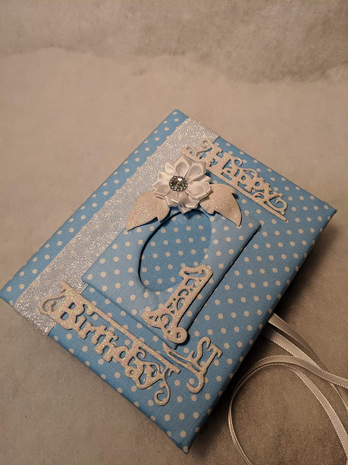 Holds 100 4x6 Photos Perfect Gift Happy 1st Birthday Blue Polks Dots Fabric Photo Album for Baby Boy Handmade