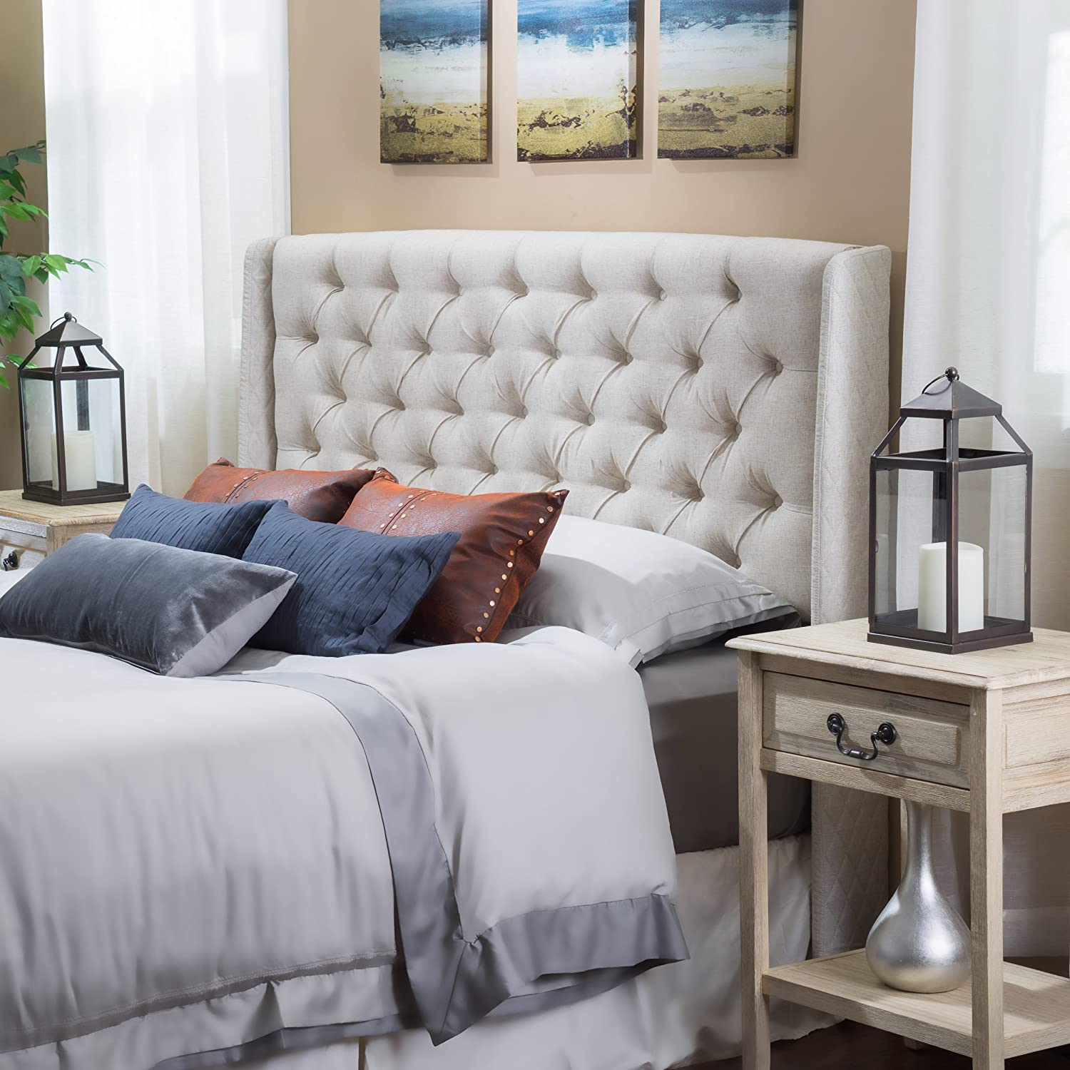Allen Wingback Queen/Full Tufted Beige Fabric Headboard GDF Studio CA
