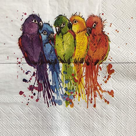 2 single Paper Napkins for DECOUPAGE Crafts Collection Party cacadu Parrots Exotic Birds Nature