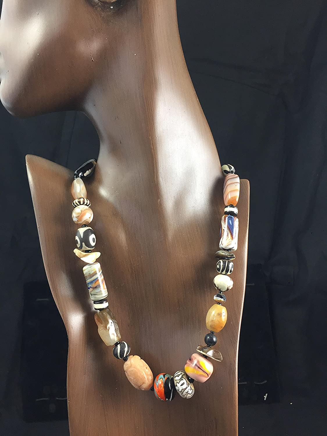 Tibetan Resin Beads Moroccan Amber Gift for Her 46cm Ethnic Mix Bead Necklace African and Tibetan Bead Necklace Ghana Glass Beads