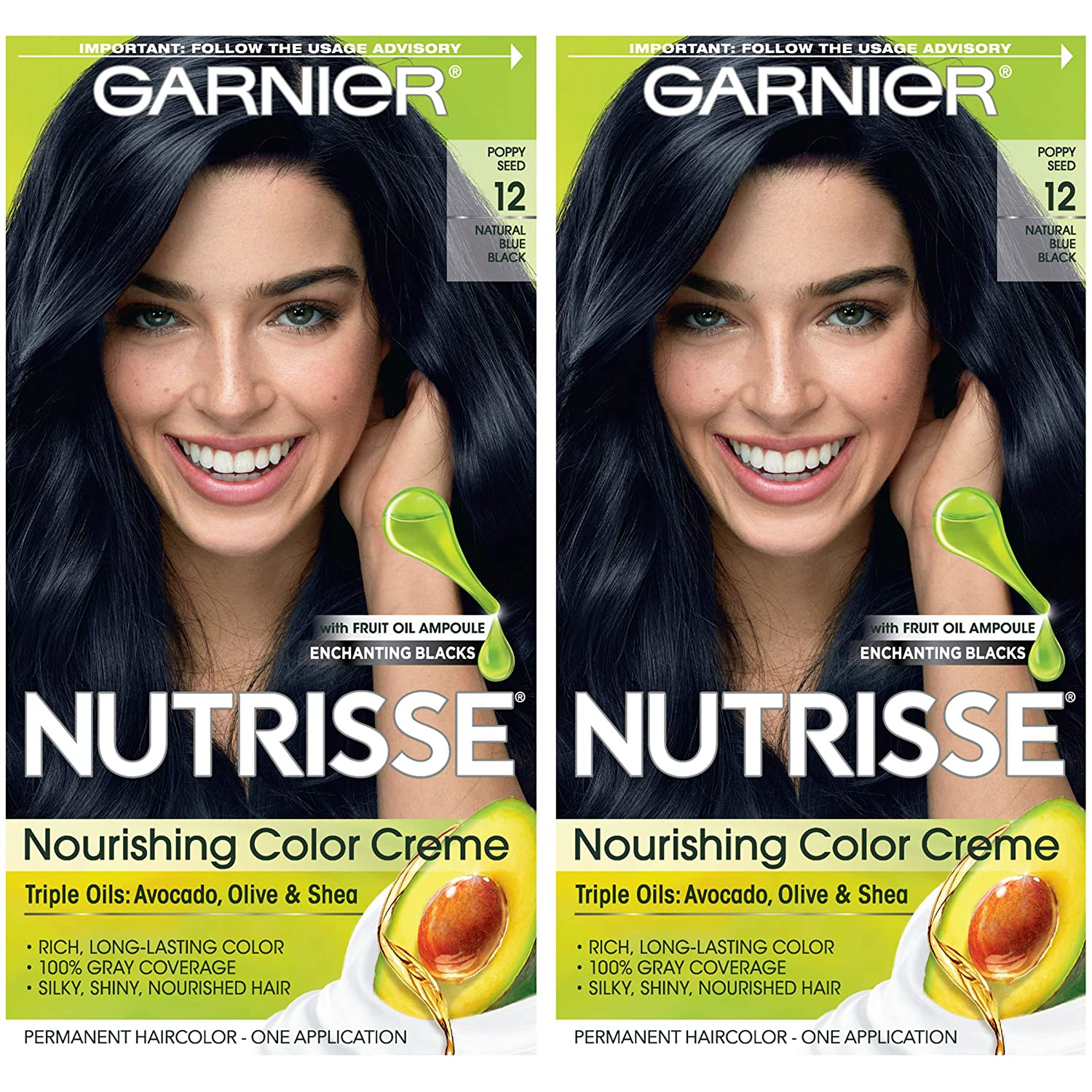 Garnier Nutrisse Nourishing Permanent Hair Color Cream, 12 Natural Blue Black (2 Count) Black Hair Dye