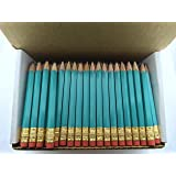 Half Pencils with Eraser - Golf, Classroom, Pew, Short, Mini - Hexagon, Sharpened, Non Toxic, #2 Pencil, Color - Light Turquoise, (Box of 48) Golf Pocket Pencils ™