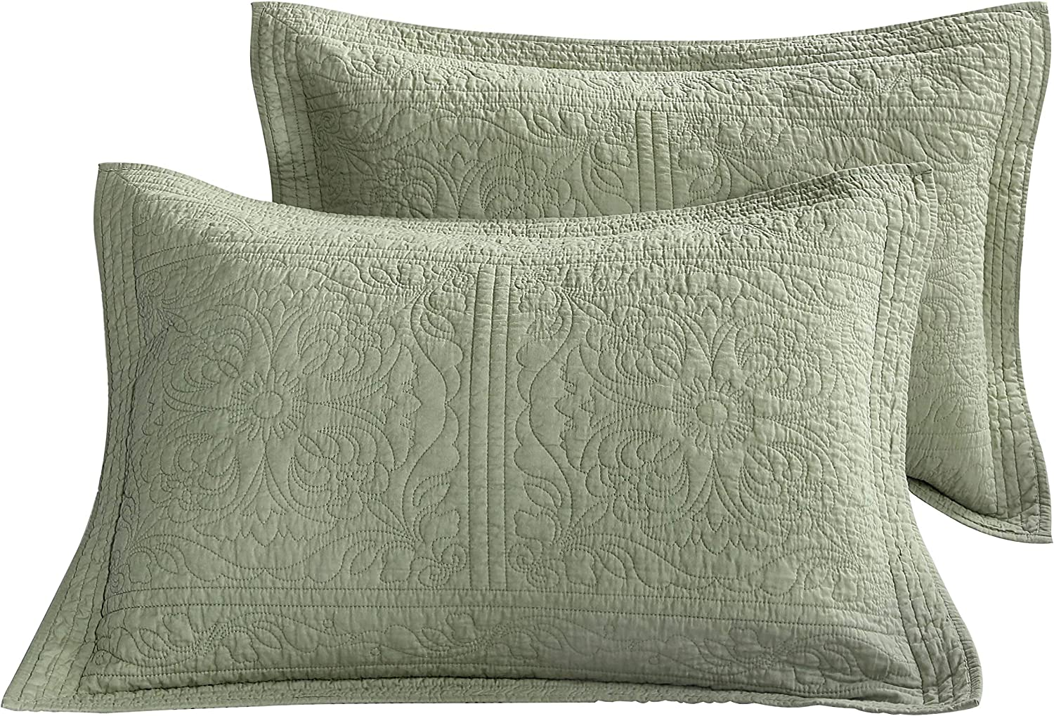 Winlife 100 Cotton Quilted Pillow Sham Floral Printed Pillow Cover Green Amazon Ca Home Kitchen