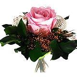 Blumen-Strauß aus ECHTE haltbare Rose und Bündagrün – (Ewige Rosen), Rosenstrauß aus 1 Konservier-Rose - Exklusives Rosenarrangement (1 Rose, Rosa)